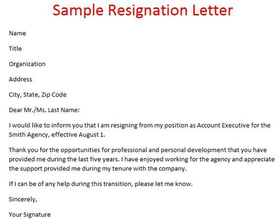 Resignation Letter Examples Withalresignation Letter Sample - official resignation letter