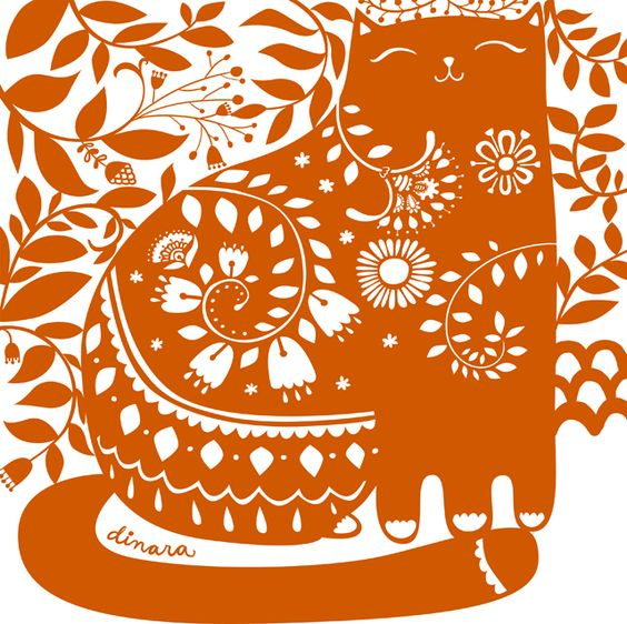 Actually not a papercut but would be nice! orange cat illustration by mirdinara. folk art style, doodle style...cute!
