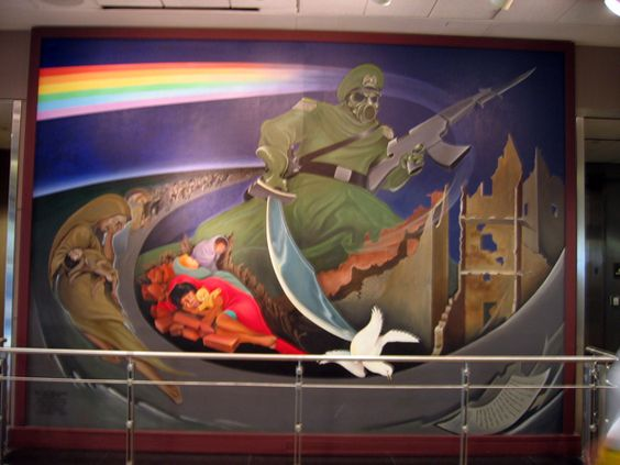 Denver airport coffin murals denver airport mural by for Mural in denver airport