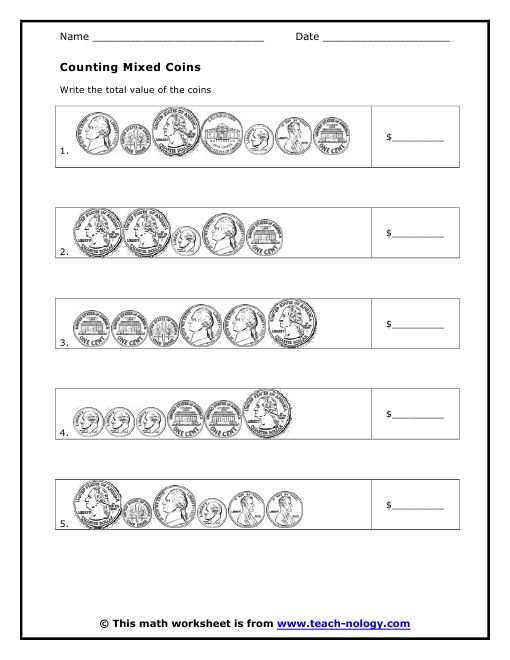 """Counting Mixed Coins"""" Worksheet (free; from Teachnology) 