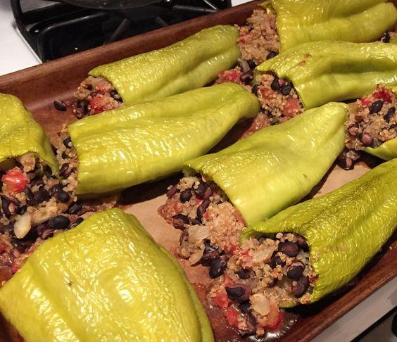 Black Bean and Quinoa Stuffed Cubanelle Peppers #vegan
