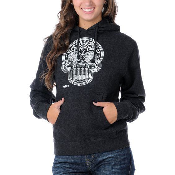 obey day of the dead glow in the dark charcoal pullover hoodie glow the o 39 jays and day of the. Black Bedroom Furniture Sets. Home Design Ideas