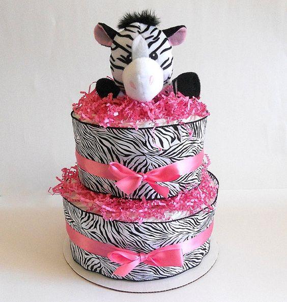 Zebra Diaper Cake In Hot Pink And Black