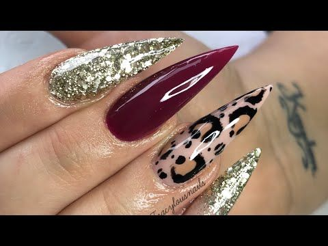 Acrylic Nails Hand Painted Leopard Print Youtube Leopard Print Nails Painted Acrylic Nails Animal Print Nails