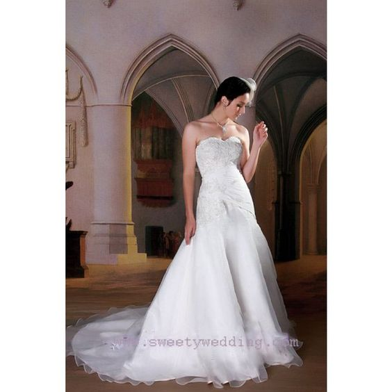 Strapless A-line Princess Ruched/ Organza Lace Crystal Empire Court Train Wedding Dresses - Discount Wedding Dresses - Wedding Dresses