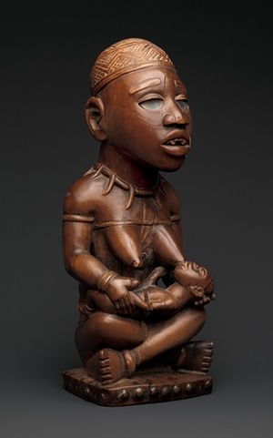 Power Figure: Seated Female Nursing Child (nkisi).