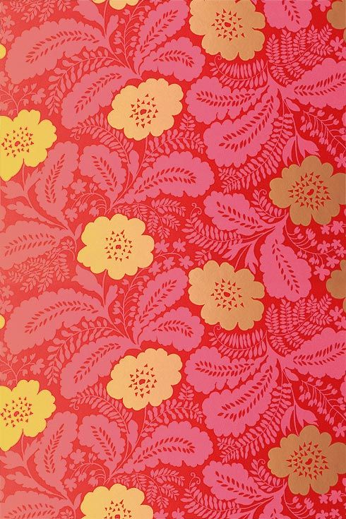 red + gold floral