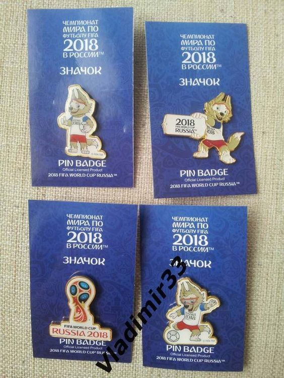 2018 Fifa World Cup Russia Set Of 4 Pin Badges World Cup Pin Badges Fifa World Cup