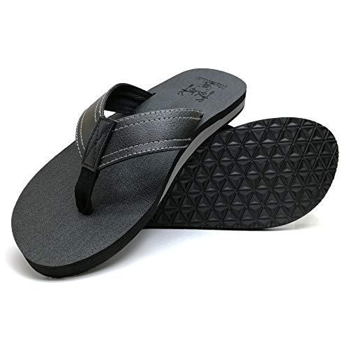 KUAILU Men/'s Yoga Mat Leather Flip Flops Thong Sandals with Arch Support
