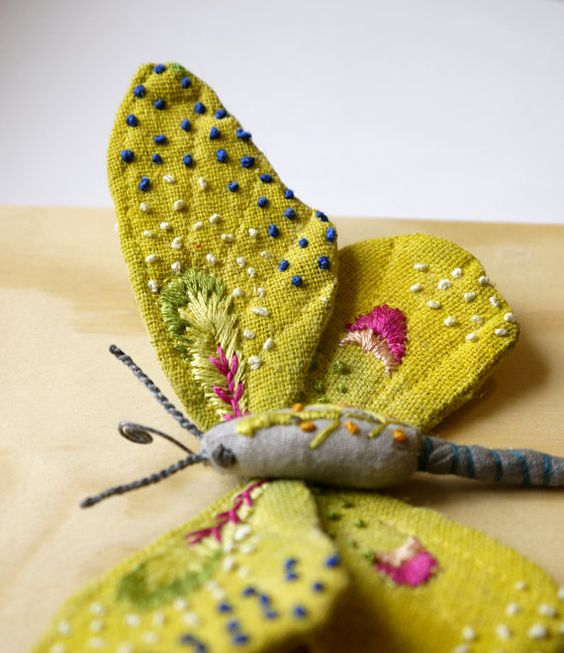 Fabric sculpture Yellow butterfly textile art by irohandbags - sold on easy Doesn't it look amazing!