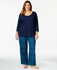 Nautica Plus Size Solid Top and Flannel Pajama Pants Set
