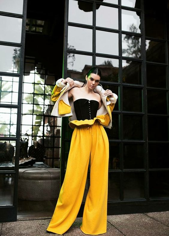 Paperbag waist WIDE LEG trousers... you can say I'm in love with this bold yellow look