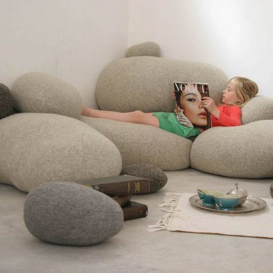 Oversized pebble cushions are comfy and cozy for a reading for Reading nook cushion