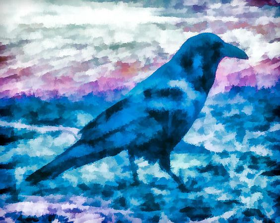 Turquoise Crow Digital Art by Priya Ghose - Turquoise Crow Fine Art Prints and Posters for Sale #art #crow #raven #bird