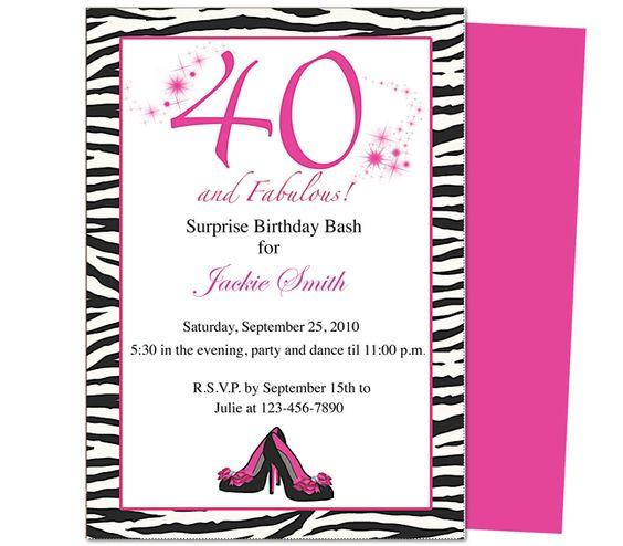 40th birthday invites fabulous 40th birthday invitation