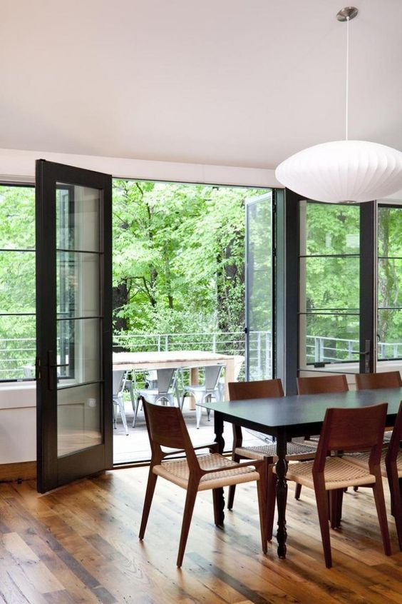 French doors and windows by Pella -muntins in an extra-thin profile to mimic industrial steel windows.   Remodelista