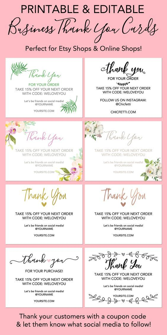 Printable Thank You Cards For Your Business Free Printable Business Cards Business Thank You Notes Printable Thank You Cards