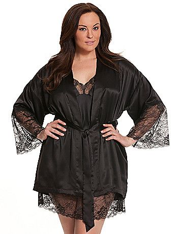 Wrap up that special evening in this elegant charmeuse & lace wrap robe from our Seriously Sexy collection. Sultry shortie robe layers over all your favorite lingerie (or nothing at all!) for a stunning presentation. Sheer lace sleeves. Self-tie closure. lanebryant.com