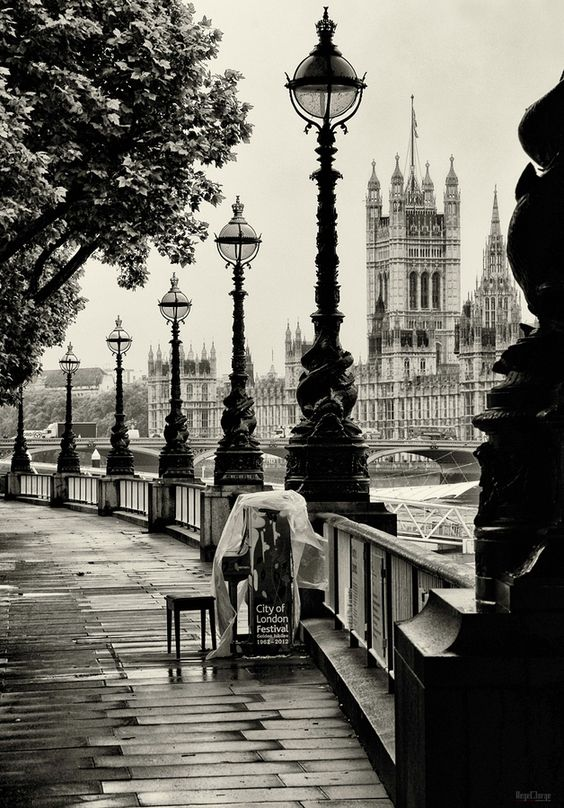 On the banks of the Thames, London.