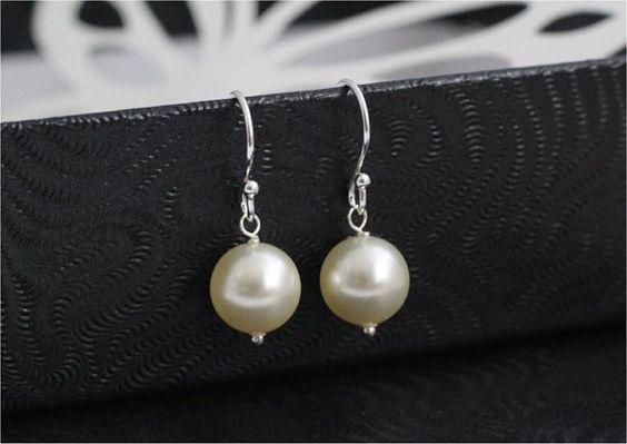 Pearl Earrings Swarovski Crystal Pearl Cream by isimplejewelry, $5.00