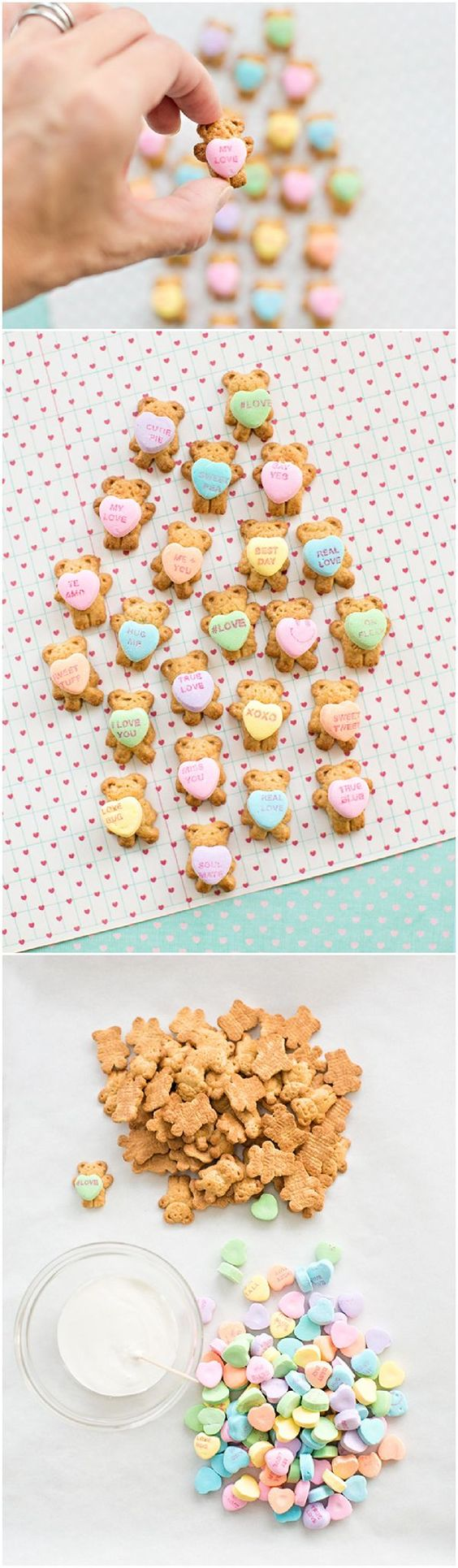 Teddy Bear Graham Cookies Holding Conversation Hearts. Easy and cute Valentine's Day treat!: