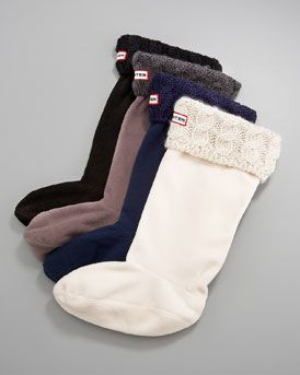 Hunter Boot Cable-Cuff Welly Socks  Cable-knit cuffed socks Cream, navy, charcoal or black