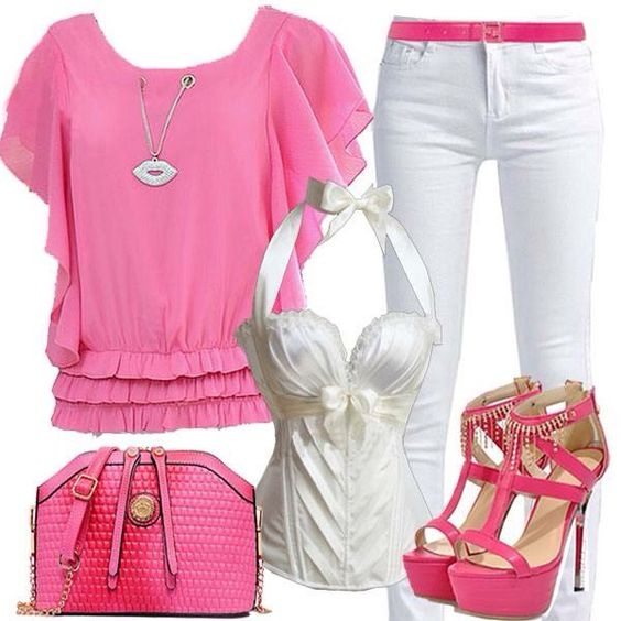 Pink and white casual party outfit sets