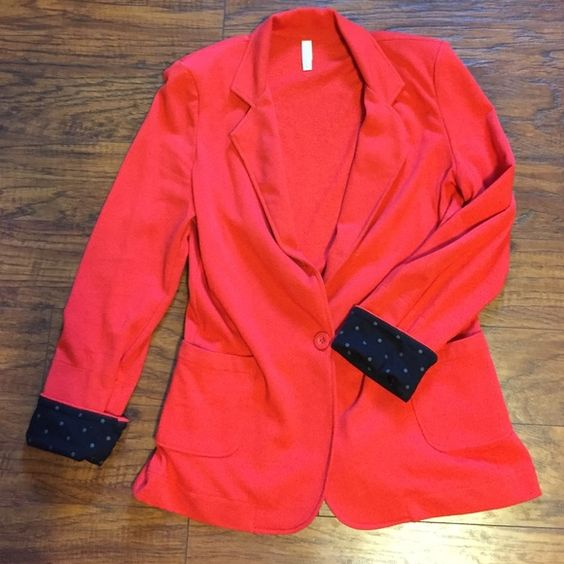 Red blazer! Red one button blazer with optional black and grey polka dot sleeves! Tops Blouses