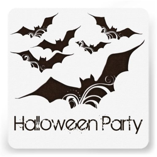 Flying Bats Halloween Party Invitation 2