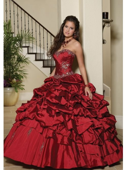 Red dress quinceanera full
