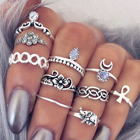 Channel your inner Boho chic with this vintage-style ring set. Featuring popular Bohemian symbols, these will trans your look to a gypsy-inspired ensemble. Choose between silver and gold to match