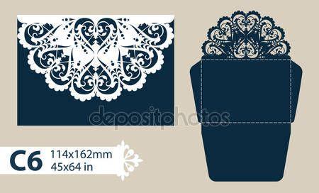 Descargar - Envolvente de felicitación de plantilla con el patrón calado tallado — Ilustración de stock #111549272