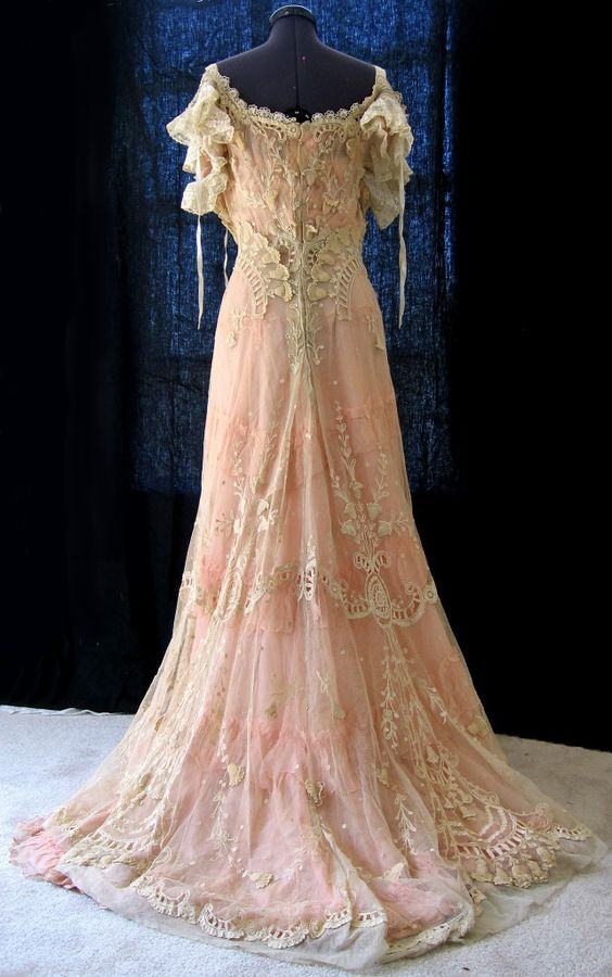 Pink Wedding Dresses Ireland : Gowns wedding ruffles tambour eyes hooks lace victorian