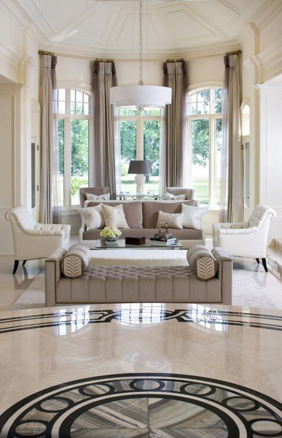 Marble Flooring Upholstered Furniture Add Sophistication In The Impressive Living Room Marble Floor Decorating Design