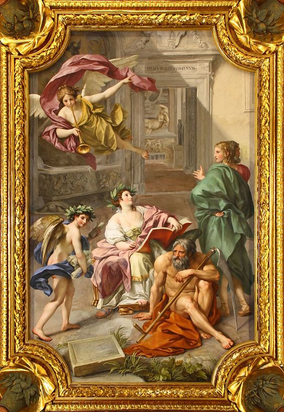 Anton Raphael Mengs, The Triumph of History over Time (Allegory of the Museum Clementinum), ceiling fresco in the Camera dei Papiri, Vatican Library, 1772 - M0tty - Anton Raphael Mengs - Wikipedia, the free encyclopedia