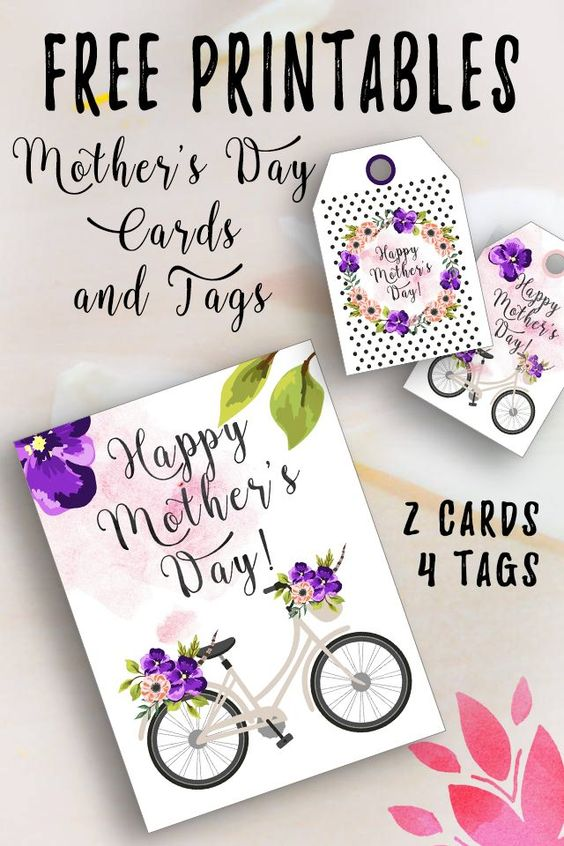 Use these free printable mother's day cards and tags to organize a treat for mom this year. Mom doesn't need super expensive gifts, but she does need to be made to feel special. This can be easily achieved once you download these cards and matching tags.: