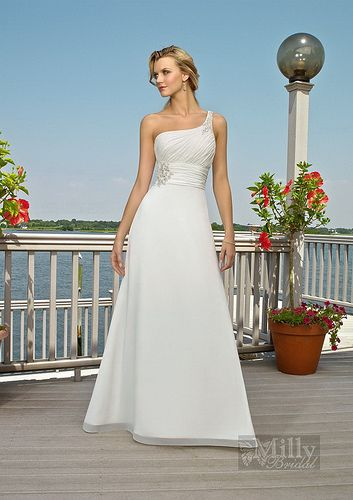 A-line Beads One-shoulder Chiffon White Beaching Wedding Dresses#Wedding #Dress