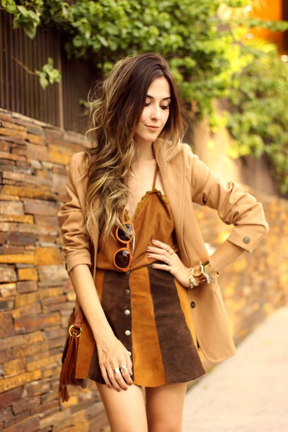FashionCoolture - 10:03 look du jour Episode earth tones button front skirt camel outfit (2) waysify: