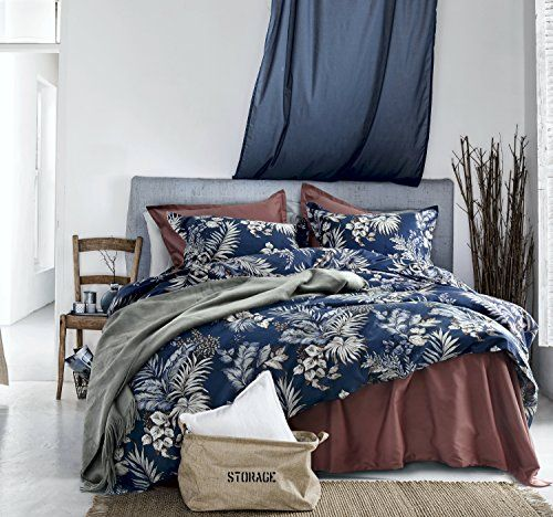 Midnight Blue Botanical Print Duvet Quilt Cover Egyptian Https Www Amazon Com Dp B073vkn24x Ref Cm Sw R Pi Quilted Duvet Cotton Bedding Sets Quilt Cover