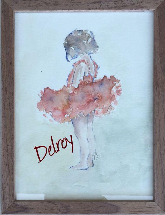 DelroY acuarela estudio serie Little dancers in different colour.