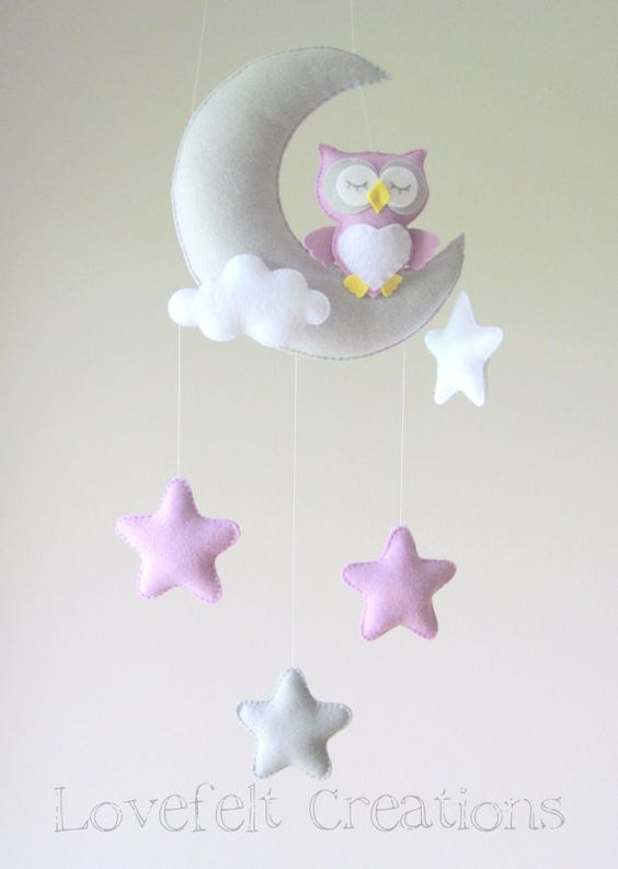 Baby-mobile mobile Owl Krippe Mobile Owl von lovefeltmobiles