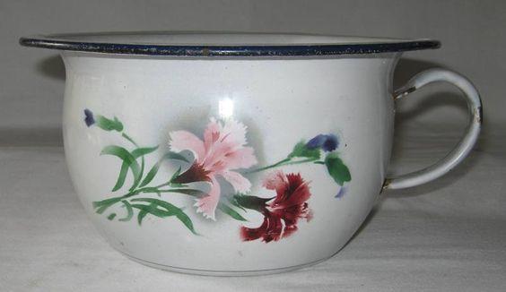 Pot de chambre ancien vase de nuit ancien en t le maill e - Decoration de chambre de nuit ...