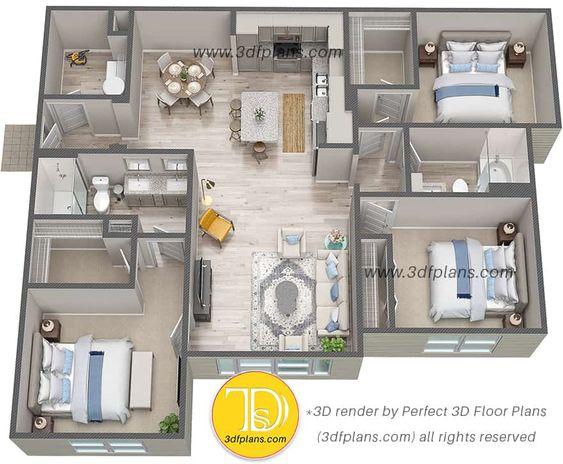 Denah Rumah Minimalis 3 Kamar Tidur 3D 29