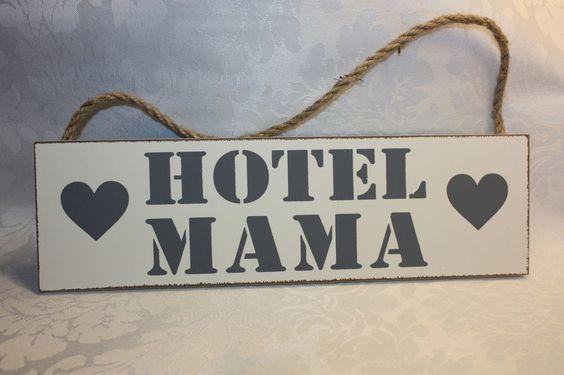 Holz Schildchen Tafel   Hotel Mama   Shabby weiß grau Herz 27 cm zuckersüß