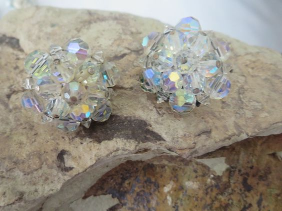 Vintage Crystal Iridescent cluster clip-on Earrings