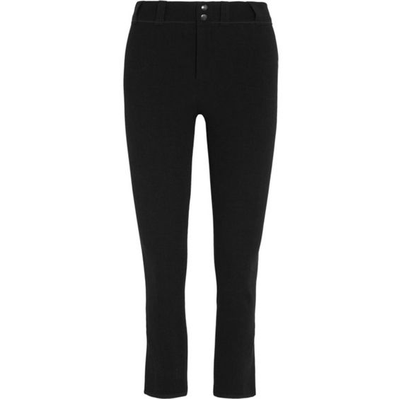 Isabel Marant Feriel stretch linen-blend skinny pants (810 CAD) ❤ liked on Polyvore featuring pants, black, skinny crop pants, skinny fit pants, stretchy skinny pants, cuffed cropped pants and linen blend pants