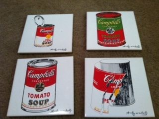 SET OF 4 KITCHEN TILES ANDY WARHOL CAMPBELL'S SOUP COPYRIGHT SIGNED