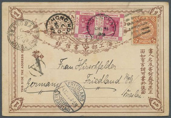 "Philasearch.com - China, Michel 51b + HK. 1898, coiling dragon 5 C. salmon tied Pa-Kua to Shanghai Local Post card 1 C. w. ""SHANGHAI LOCAL POST C OC 30 99"" alongside (form use) in combination w. Hong Kong QV 2 C. rose (pair) tied ""SHANGHAI OC 31 99"" via ""HONG KONG NO 3 99"" to Germany w. arrival ""FRIEDLAND 4.12.99"", on reverse printed ""Greetings from Shanghai"" (ed. Hirsbrunner & Co.)  Lot condition   Dealer Gärtner Christoph Auktionshaus  Auction Starting Price: 120.00 EUR"