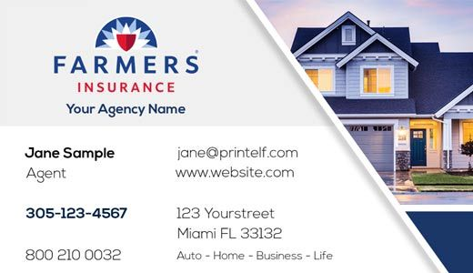 Farmers Insurance Business Card For Home Live Auto Farmers Insurance Business Insurance Free Business Card Templates