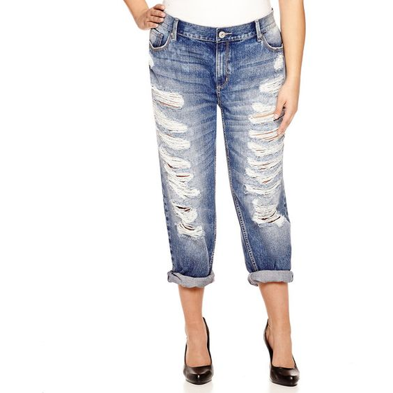 Arizona Destructed Boyfriend Jeans - Juniors Plus ($33) ❤ liked ...